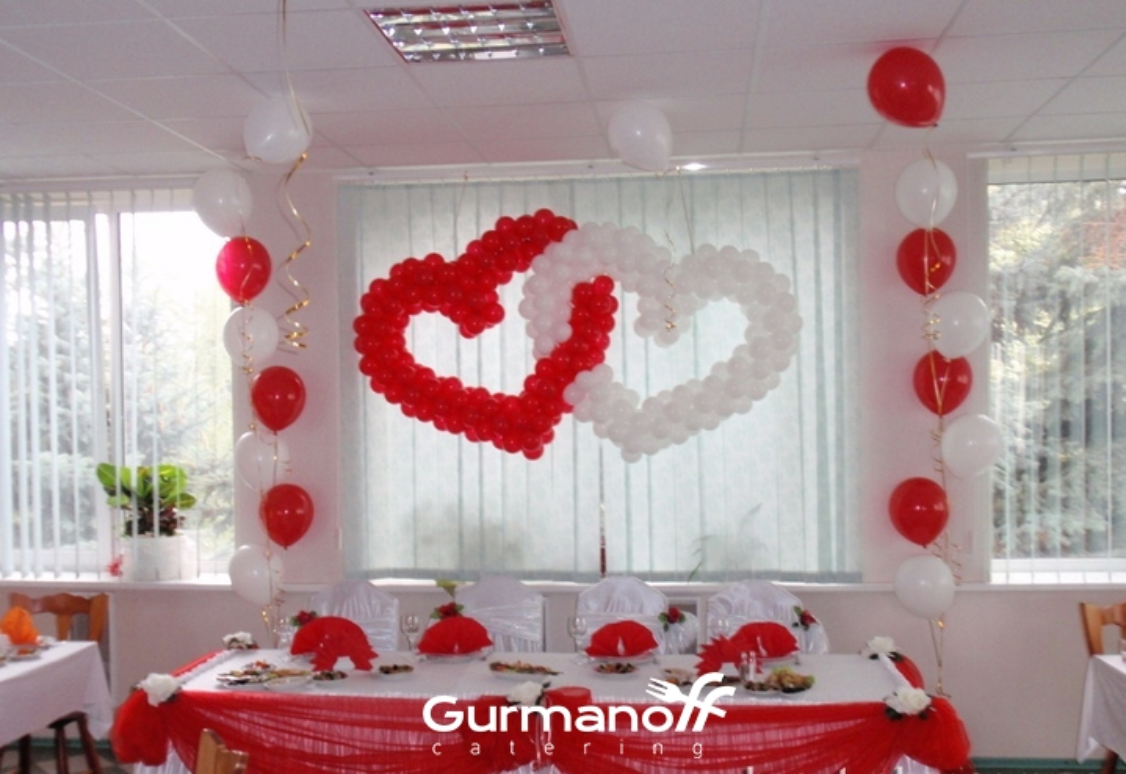 Оформление зала на свадьбу фото шарами